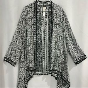 Chico's 2 Duster open Cardigan Black White L